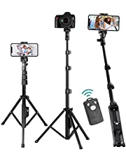 Selfie Stick Stand Tripod with Bluetooth Remote,131cm Extendable Selfie Stick,Lightweight Cell phone/Camera Tripod,Compatible with iPhone/Galaxy/Huawei/Google/Xiaomi/Android,Phone Stand for Recording.