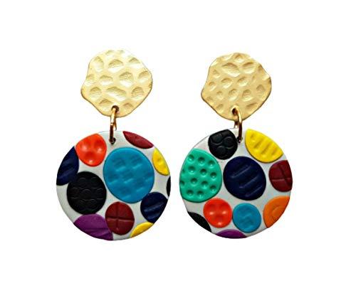 Circle Polymer Clay Earrings
