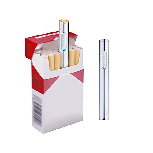 Saberlight Cigarette Lighter Mini - Ultra Slim Cigarette Lighter - Portable - Rechargeable - Lightweight - Sleek - Chrome - Windproof & Flameless