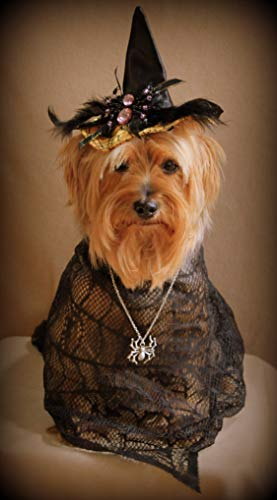Funny yorkie Halloween greeting cards, party invitations (set of 3)]()