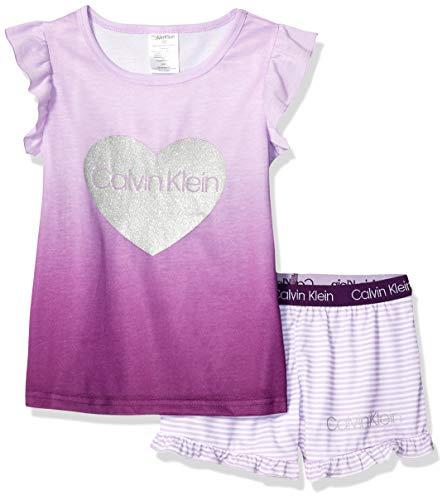 - Calvin Klein Girls' Little 2 Piece Sleepwear Top and Bottom Pajama Set Pj, Logo Purple CK Lilac Mini Stripe, Small-6/6X