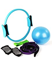 Yoga Strap Exercise Resistance Bands kits Yoga Socks,Pilates Ball,Pilates ring/circle and Belts for Stretching Massage Ball Stretch Strap,Non Slip Skid Socks