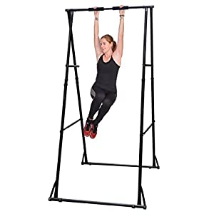 Khanh Trinh Workout Gymnastics Bar Equipment: KT Two Tier Height Adjustable Folding Chin Up Bar For Kids And Adults Model KT1.HT, Perfect Gym Fitness Pull Up Station With 02 Horizontal Exercise Bar