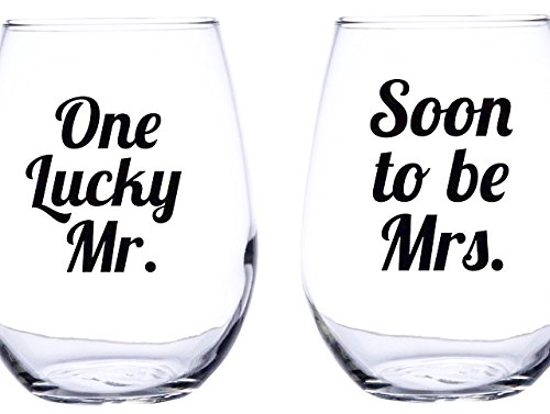 One Lucky Mr and Soon to Be Mrs. Wine Glass Engagement Wedding