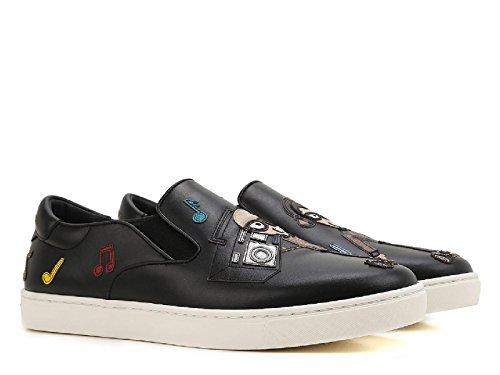 Dolce E Gabbana Slip Sur Sneakers Homme Cs1365ag47580999 Cuir Noir
