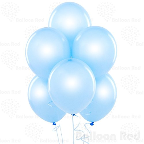 12 Inch Pearlized Latex Balloons (Premium Helium Quality), Pack of 100, Pearl Baby Blue (Baby Blue 12)