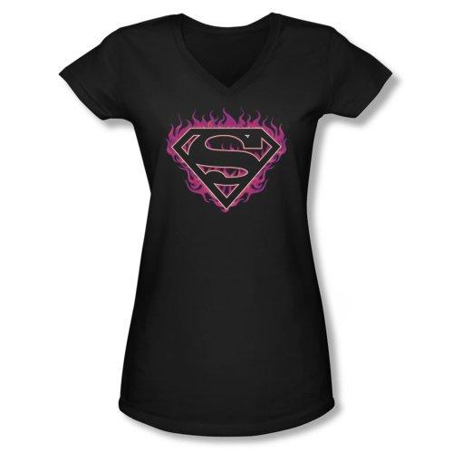 Superman Fuchsia Flames Juniors V-Neck T-Shirt Large Black