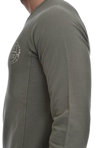 Uomo Penn Reverse Felpa Verde Scuro Profili Intarsiati rich Logo By Woolrich Girocollo 4wfr041q