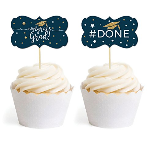 Andaz Press Navy Blue and Gold Glittering Graduation Party Collection, Cupcake Topper DIY Party Favors Kit, Fancy Frame Shape, 18-Pack ()