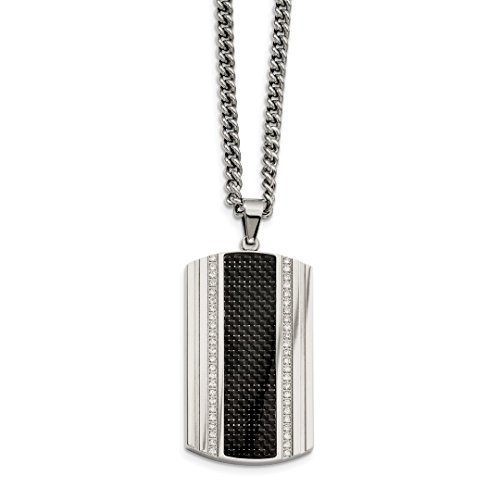 ICE CARATS Stainless Steel Black Carbon Fiber Inlay Cubic Zirconia Cz Dog Tag Chain Necklace Pendant Charm Dogtag Fashion Jewelry Ideal Gifts For Women Gift Set From Heart -