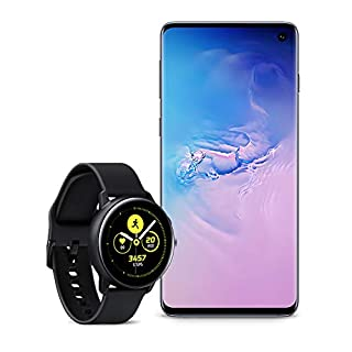 Samsung Galaxy S10 Factory Unlocked Phone with 512GB (U.S. Warranty), Prism Blue with Galaxy Watch Active (40mm), Black - US Version with Warranty