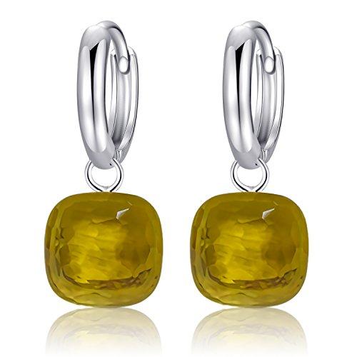 MetJakt Classic Blue Topaz Drop Earrings Solid 925 Sterling Silver Pendant Earring for Women's Occasions Fine Jewelry (Yellow)