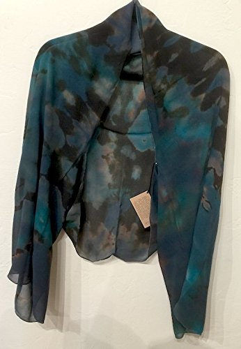 Lorie McGirr Shrug - Turquoise Reverse Shibori Ciffon 20''x60'' by Indigo Desert Ranch
