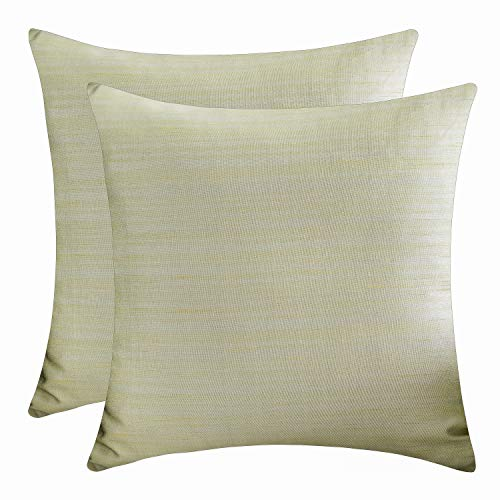 The White Petals Sage Green Throw Pillow Covers (Faux Silk, 20x20 inch, Pack of 2)