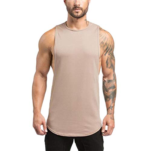 YOcheerful Men Vest Sleeveless Tank Top Knit Muscle Shirt Tee Top Gym Sportswear (Beige,L)