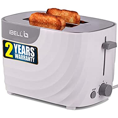 iBELL WG70 700-Watt Premium Pop-up Bread Toaster with Crumb Tray, Mid Cycle Heating Element (White) 8