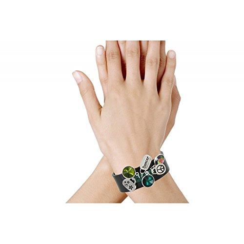 Les Poulettes Bijoux - Bracelet Cuir Noir Swarovski et Multi Breloques Coton Vert