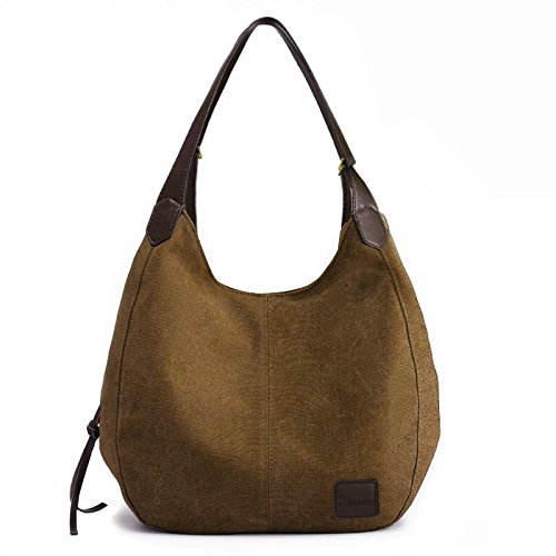 Women's Everyday Casual Shoulder Bags - Canvas Hobo Handbag Cotton Totes Purses Brown by Dzzzzc