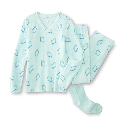 Womens Pink K Fleece Pajama Set-- Top, Pants, & Socks -- Penguins