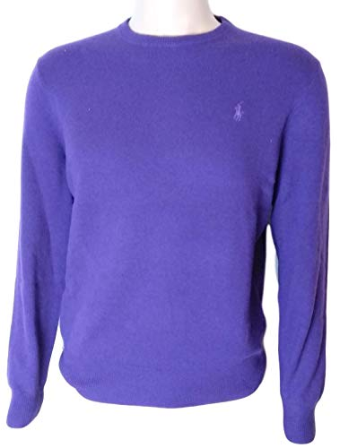 Polo Ralph Lauren Mens Crewneck Wool Sweater (L, Purple)