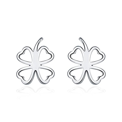 ptk12 Silver Plated Four Leaf Clover Earrings Lose Money Promotion Hot Selling Titanium Steel ()