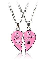 W-Sunshine Best Friends Necklac for 2 Broken Heart Charm Pendant Set Friendship Necklace Jewelry Gift