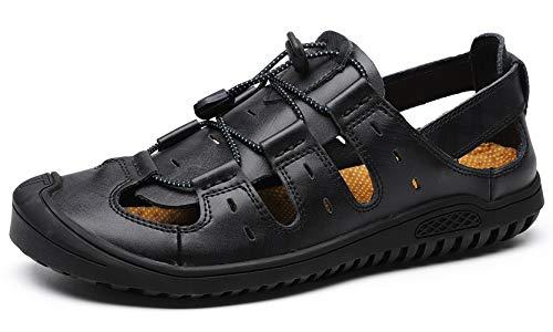 JIONS Closed Toe Leather Fisherman Mens Sandals, Outdoor Adjustable Summer Shoes B- Black 6.5/38 (Closed Fisherman Sandal Toe)