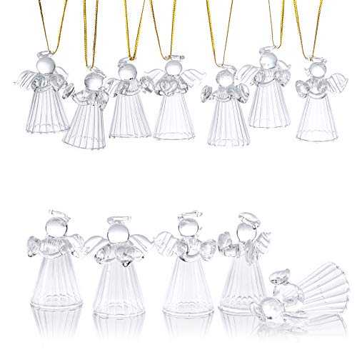 (Nuptio Glass Angel Ornament - 12 Pcs Mini Christmas Figurine Decor, Standing Design with Hollow Bottom, Small Traditional Winter Holiday Festive Decoration)