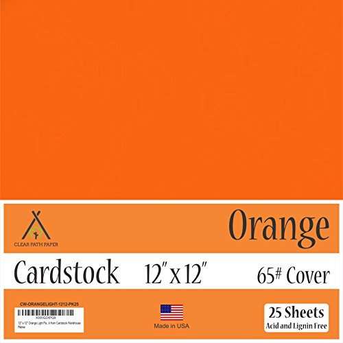 Orange Cardstock - 12 x 12 inch - 65Lb Cover - 25 Sheets by Clear Path Paper