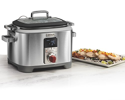 Wolf Gourmet WGSC100S Programmable Multi Function Cooker with Temperature Probe - Slow Cooker, Rice Cooker, Sauté, Sear, Sous Vide, Stainless Steel with Grey Knob (Red Knob)