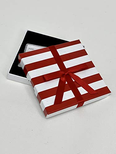 Gift Card Holder - Gift Card Box, Red with White Stripes, Great for Christmas and Valentine's Day Gift Cards, Pack of 3 (White ()