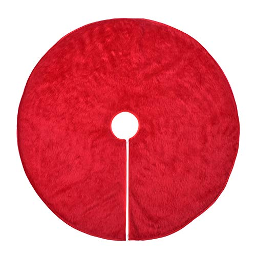WXJ13 36 Inches Red Plush Christmas Tree Skirt Holiday Christmas Decorations
