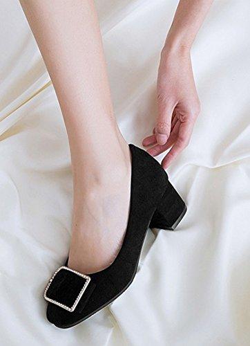 ... Aisun Kvinners Trendy Chunky Mid Hæl Dressy Firkantet Tå Low Cut  Slitasje På Jobb Kontor Slip
