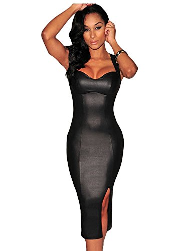 Buy faux leather halter dress - 2