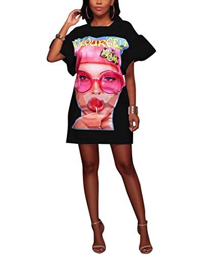 Puff Sleeve Pattern - Vamvie Women's Casual Short Puff Sleeve Mini Dress Pattern Print Loose Tunic T-Shirt Blouse Top Black XL