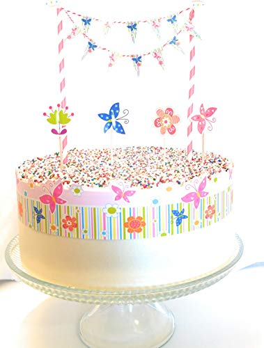 Linara Boutique Birthday Cake Bunting Flag Topper (Butterfly Party) ()