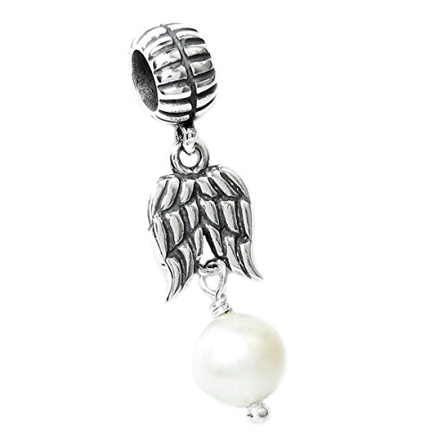 Sterling Silver Guardian Wing Freshwater Cultured Pearl European Bead Charm June Birthstone (4.5-5mm)