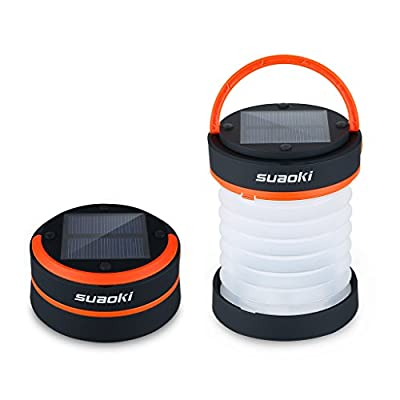 Suaoki Led Camping Lantern Lights Rechargeable Battery (Powered By Solar Panel and USB Charging) Collapsible Mini Brightest Flashlight for Outdoor Hiking Camping Tent Garden Patio(Emergency Charger for Phone, Water-Resistant)