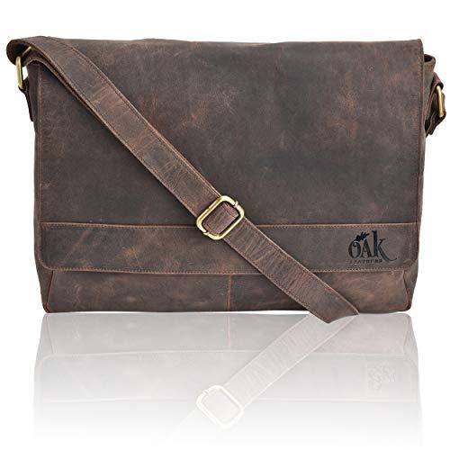 (Leather Laptop Messenger Bag for Men -Office Briefcase 15