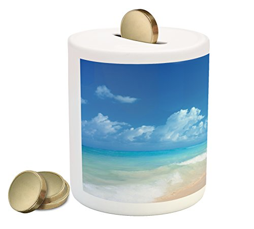 Hawaiian Coin Box Bank By Ambesonne  Tropical Seacoast Wavy Ocean Fluffy Clouds On Horizon Summer Holidays Scenery  Printed Ceramic Coin Bank Money Box For Cash Saving  Blue Turquoise