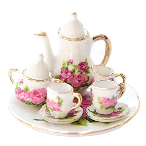 Porcelain Doll Ornament - TOOGOO(R) 1/6 Dollhouse Miniature Porcelain Coffee Tea cup set #D
