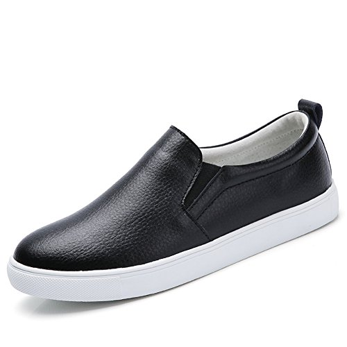 Noblespirit Womens Slip On Loafer Shoes Leather Casual Fashion Sneakers Black