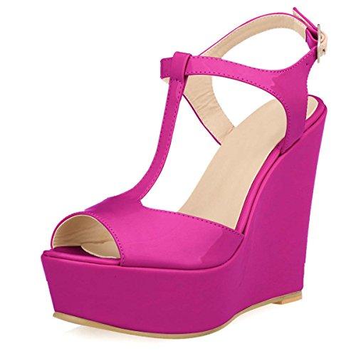 HooH Women's Platform T-Strap Buckle Wedge Sandals Purple ViKsrcXl