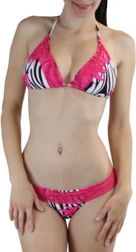 ToBeInStyle Women's Two Piece Lace Trim Bikini Set Swimsuit Padded Lined Zebra Floral Prints - Zebra Pink Flower - (Lace Trim Zebra)