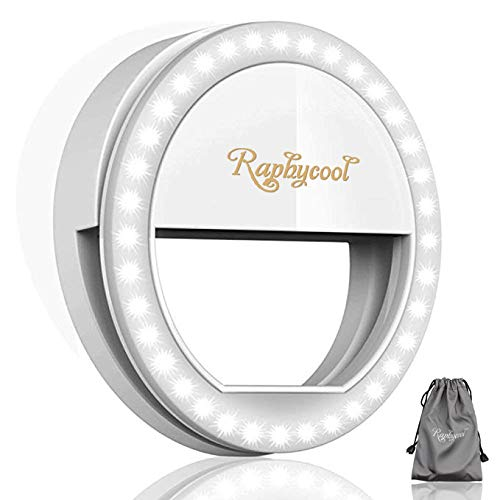 (RC Selfie Ring Light for Phone Camera Photography Video, Clip-on iPhone Samsung Galaxy S7 HuaWei, White)