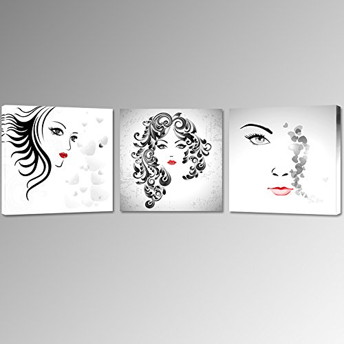 Sea Charm   3 Panel Abstract Women Face Canvas Art For Bedroom Decor Cool Red Lip Poster For Wall Decor Stretched And Framed Canvas Prints