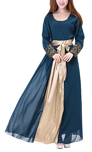 Coolred-Women Casual Retro Muslim Long-Sleeve Wedding Long Dresses Purplish Blue L