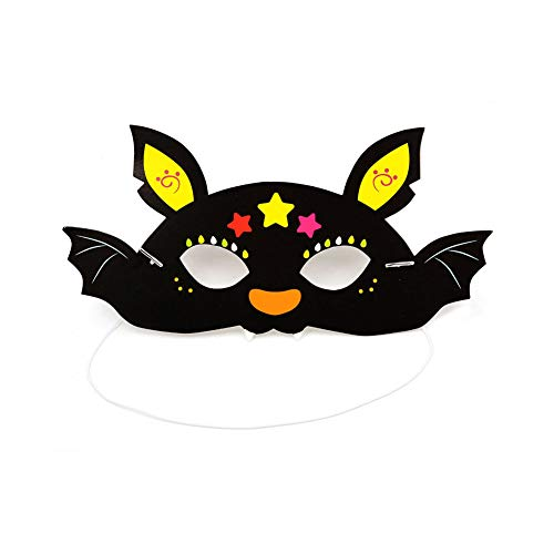 5 pcs bat Halloween Animal Masks – 12-Pack Assorted Zoo Theme Woodland Party Supplies for Kids Birthday, Dress-Up Party Favors, DIY Photo-Booth Props ()