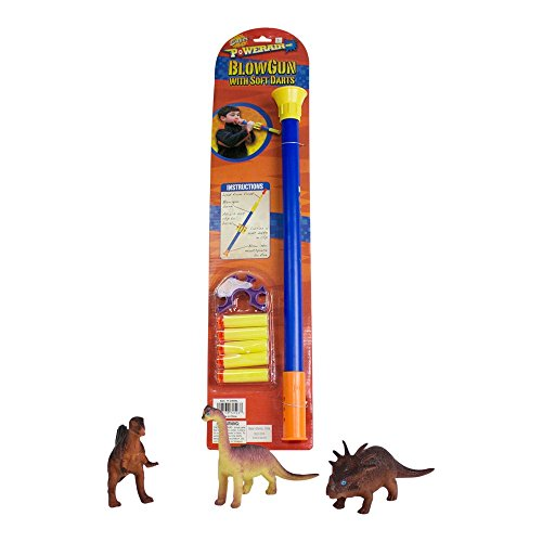 """[4-Piece Toy Blowgun Bundle with Blow Dart Gun and 3 Vinyl Dinosaurs (5"""" – 8"""") for Target Practice, Includes 5 Soft Foam Suction Cup Darts Bundle by Imprints] (Child Blue Stealth Ninja Costumes)"""