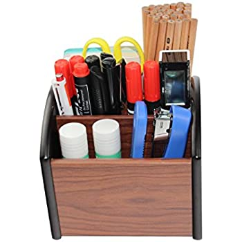PAG Office Supplies Wood Desk Organizer Revolving Pencil Holder Accessories  Remote Control Caddy, 4 Compartments